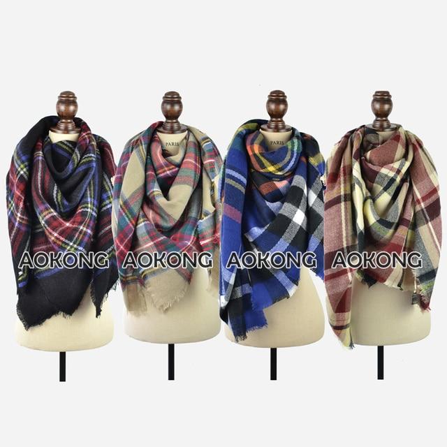 Winter 2017 Chic Knit Square Tartan Plaid Blanket Scarves Women Grid Check Bandana New Designer Acrylic Oversize Scarf Shawl