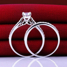 2Pcs/set Charm Lovers Ring Bijoux Femme Fashion Jewelry Bijoux Silver Crystal Engagement Wedding Rings For Women Men Anel