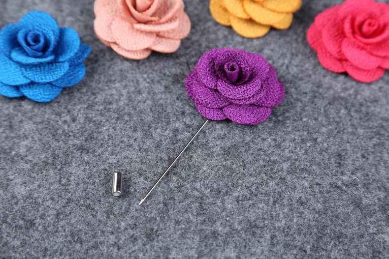 Lump Sum Baru Kerah 17 Warna Bunga Aster Buatan Tangan Tongkat Pin Bros Pria Keren Aksesoris Yang Indah Di Pesta Pernikahan 08
