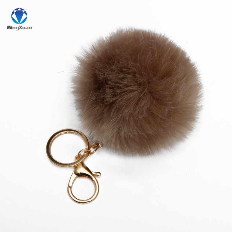 MINGXUAN Fake Fur pom pom Keychain 8 cm llavero chaveiro Chaveiro Cadeia de Correntes de Ouro Falso Raposa Pele De Coelho pompom