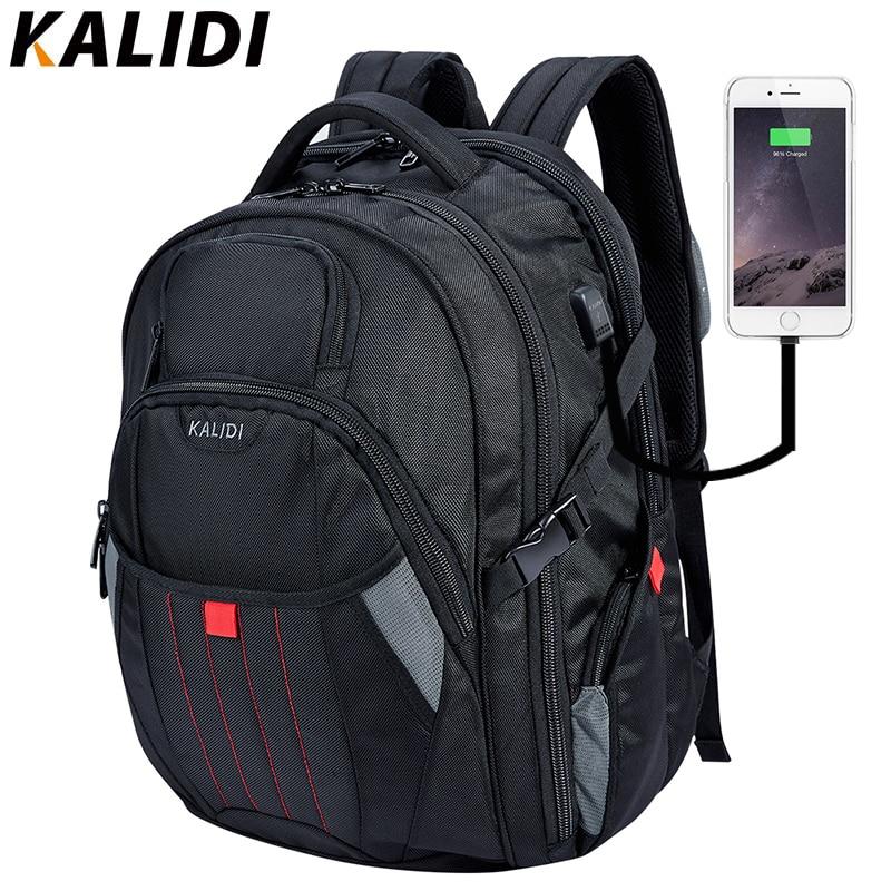 KALIDI böyük noutbuk çantası 17.4 düym Qara kompüter kompüter çantaları USB dolduran kişilər üçün səyahət məktəb çantası Qadın notebook çantaları 17 düym