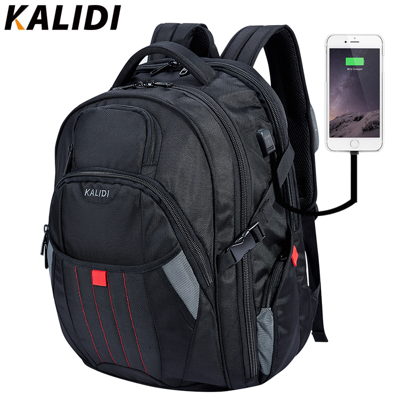 KALIDI Beg Laptop Besar 18.4 17.3 inci Beg Komputer Hitam USB Mengecas Beg Sekolah Perjalanan Untuk Lelaki Notebook Beg 17 Inci