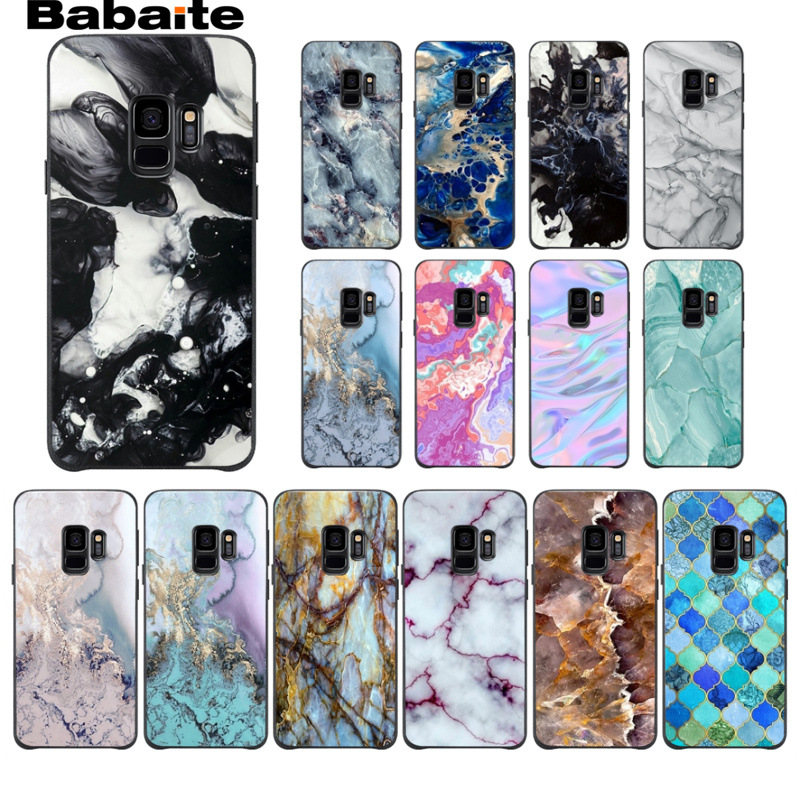 Watercolor Marble tiles stone Smart Soft Shell Phone Case For Samsung Galaxy s9 s8 plus note