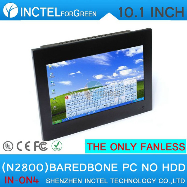 10.1 inch Fanless Barebone Touchscreen All in One Computer with Intel Atom Dual Core N2800 1.86Ghz