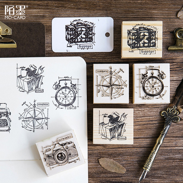 Vintage Compass Gift Boxes Camera Wood Stamp Diy Craft Wooden Rubber