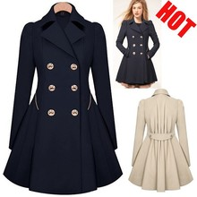 Women Coat autumn spring Woolen Long Sleeve Overcoat Trench Desigual warm slim Casacos Femininos S-XXL