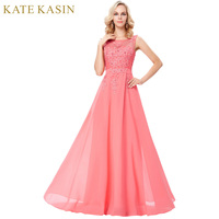 Pink Lace Chiffon Evening Dresses V Back A Line Maxi Evening Gowns Women Party Dress Long