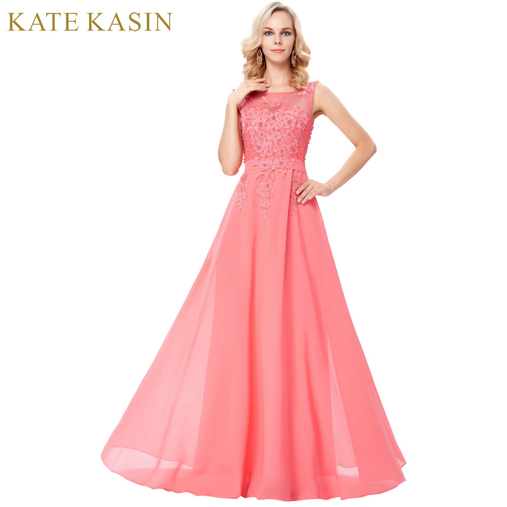 Pink Lace Chiffon Evening Dresses V Back A-Line Maxi Evening Gowns Women Party Dress Long Formal Dresses Custom Made 7555