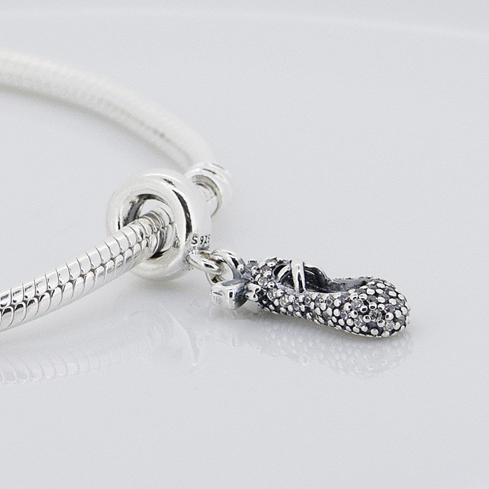 52764e5c0f4 ... Fits Pandora Charms Bracelet DIY Beads Ballet Slipper Silver Dangle  With Cubic Zirconia 925 Sterling Silver ...