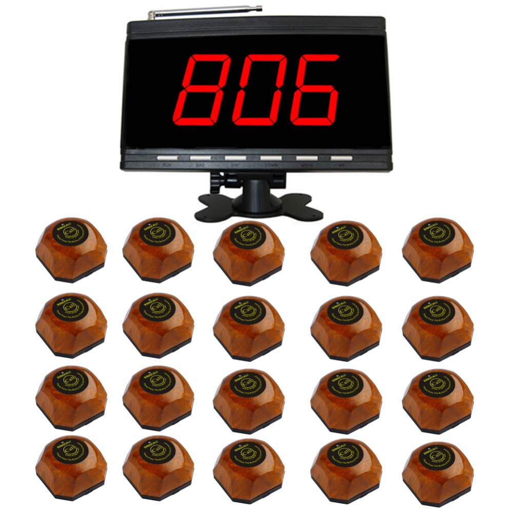SINGCALL wireless table calling systems,restaurant guest pagers, 1 pc black receiver and 20 pcs single button table bells. 2 receivers 60 buzzers wireless restaurant buzzer caller table call calling button waiter pager system