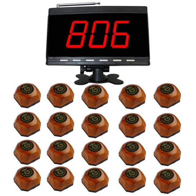 Sistemas de chamada de mesa sem fio singcall, restaurante pagers hóspedes, 1 pc preto receptor e 20 pcs botão único sinos de mesa.