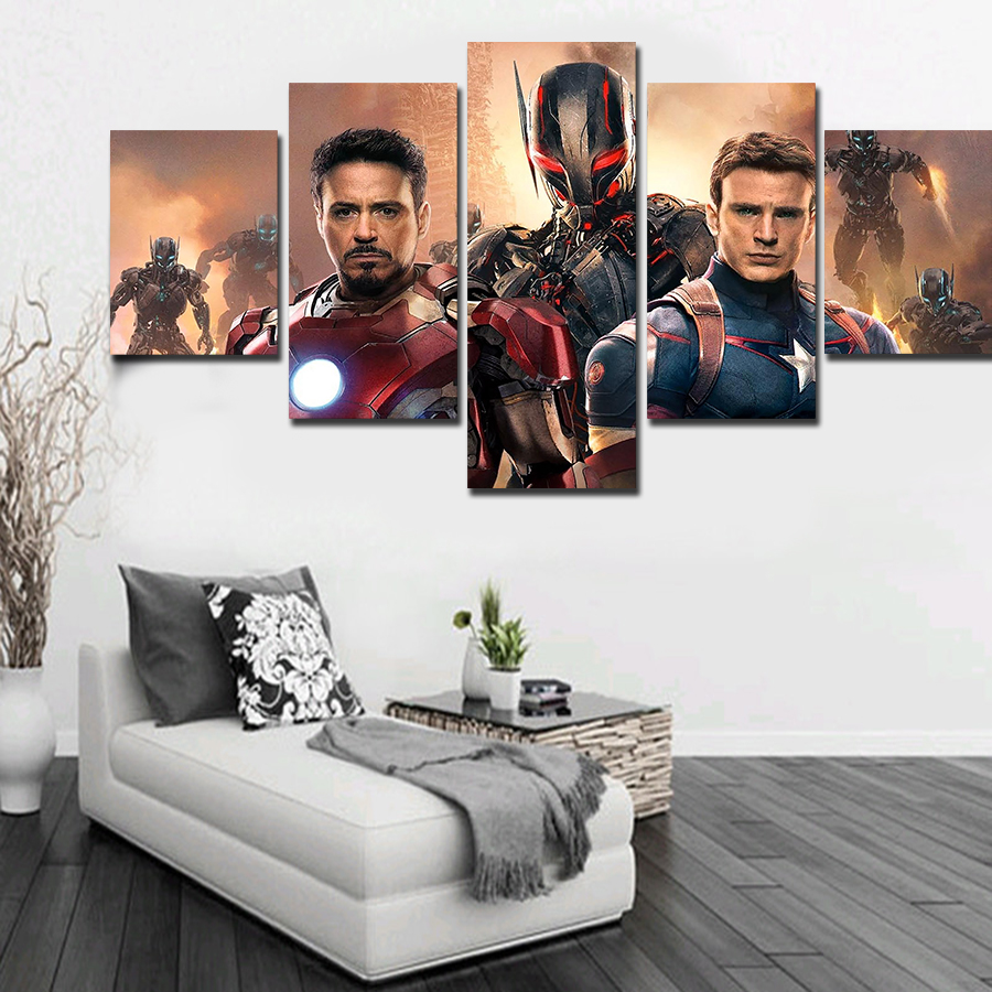 Cuadros Decoracion 5 Panels Artwork Canvas The Avengers Painting ...