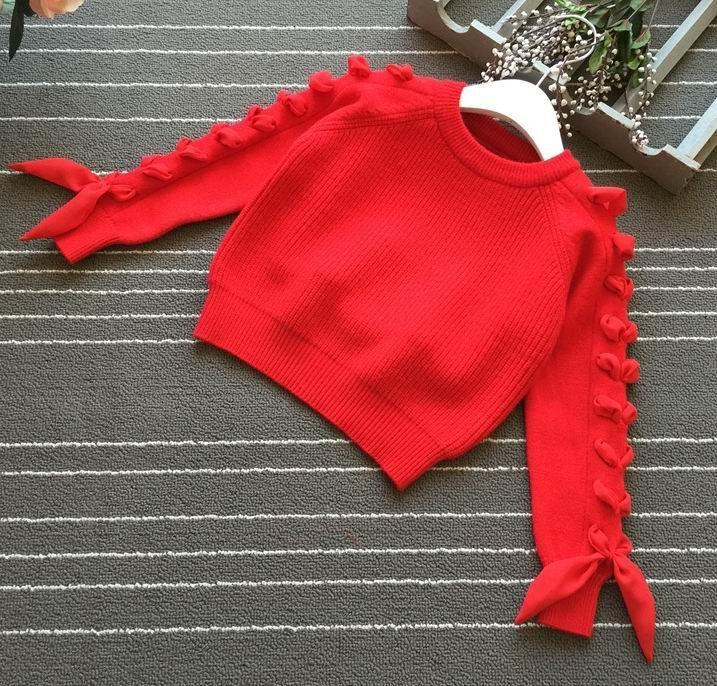 Mutter & Kinder Offizielle Website Einzelhandel Mädchen Pullover Chiffon Bänder Langarm Mode Gestrickt Baumwolle Pullover Kinder Kleidung Hb862 Mädchen Kleidung
