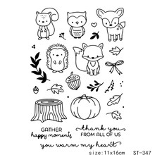 AZSG Hedgehog and Squirrel  Clear Stamps Cutting Dies For DIY Scrapbooking/photo Album Decorative Silicone Craft Chapte
