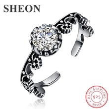 SHEON 100% 925 Sterling Silver Vintage Personalized Pattern Open Size Rings for Women Wedding Engagement Jewelry Gift sheon 100