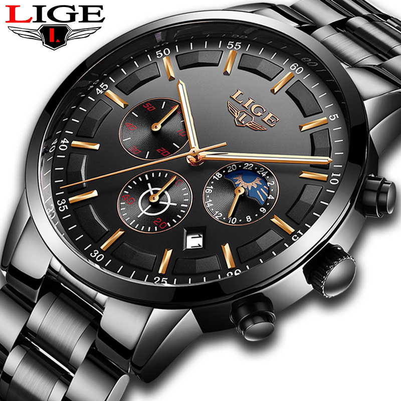 все цены на LIGE Mens Watches Top Brand Luxury Military Quartz Watch Men Fashion Stainless Steel Waterproof Sport Watch Relogio Masculino