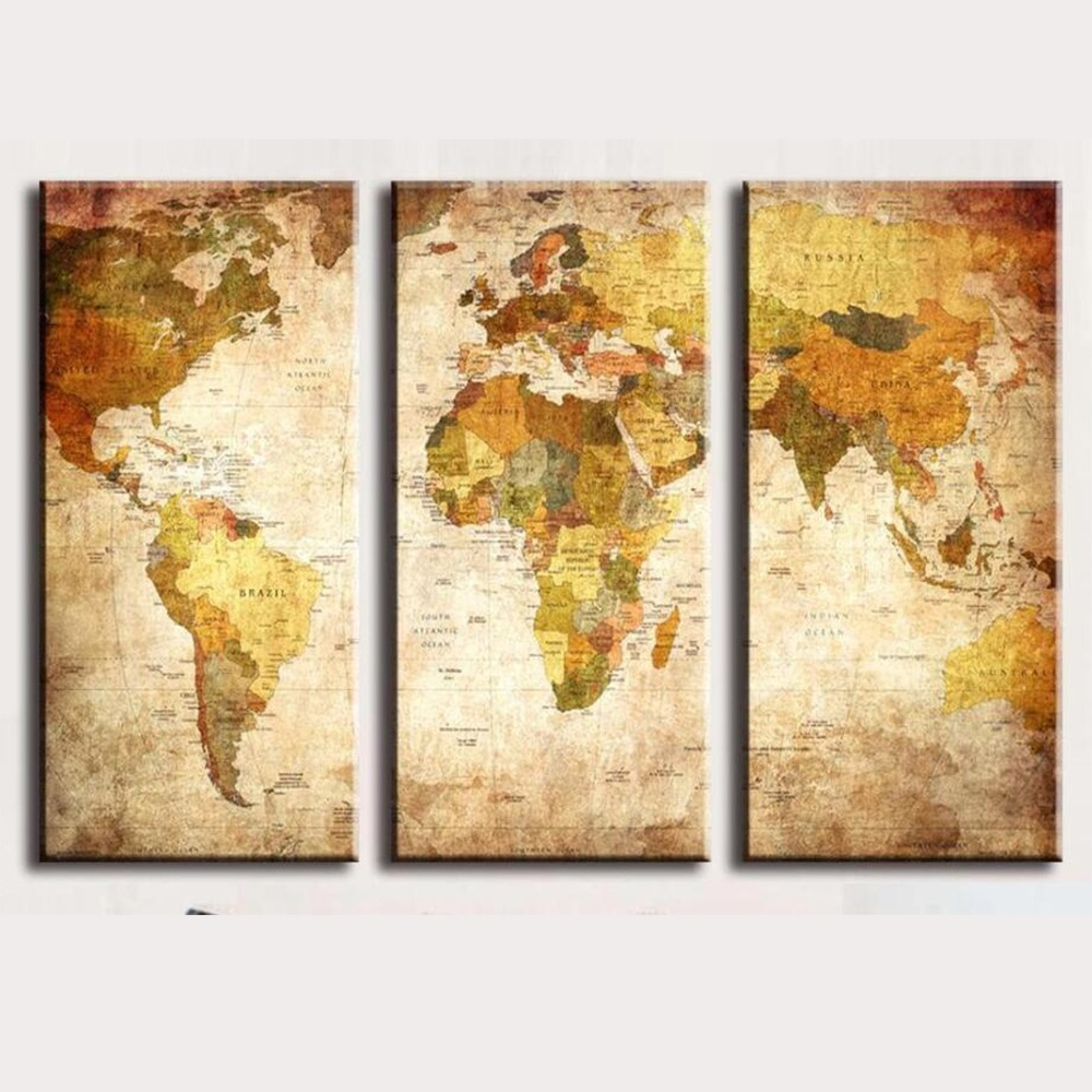 World Map Canvas Painting Oil Painting Print On Canvas Home Decor ...