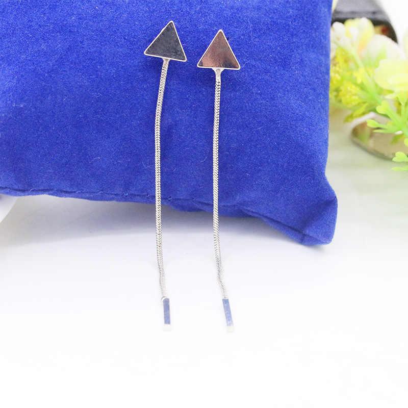 2018 accesorios de joyería de oreja Cadena de Metal pendiente de borla larga para mujer encanto Pendiente de oro Color plata triángulo pendiente