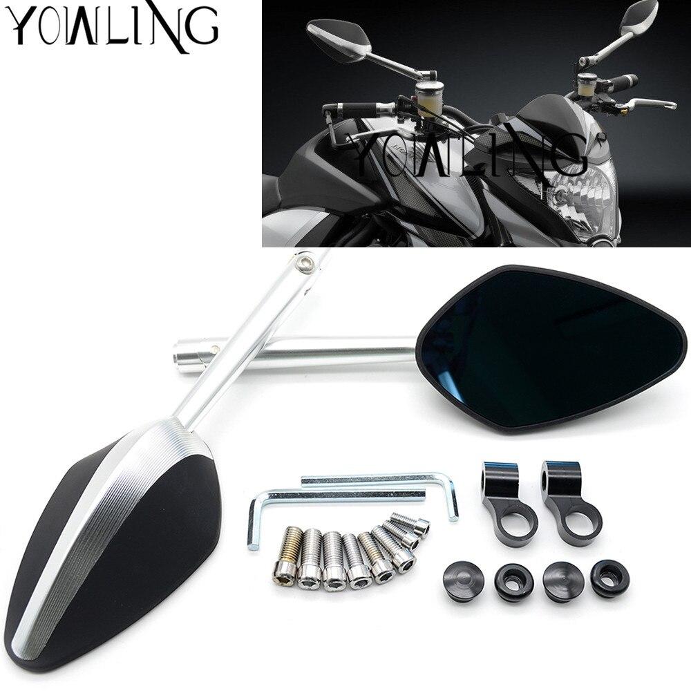 Silver Motorcycle CNC Metal Rearview Side Mirrors For Honda Ducati Aprilia KTM