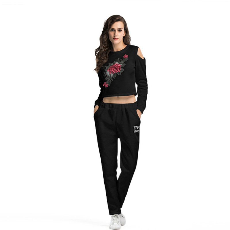 Two piece Set Women Tracksuit Long Sleeve Sportswear Sweatsuits for Womens Embroidery Hoodies Crop Top and Pants Set 2 PCS