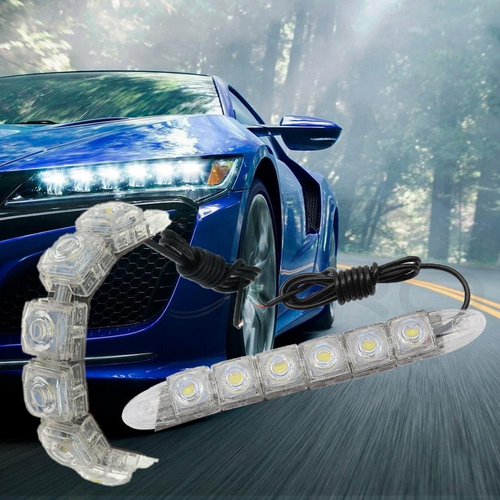 Hviero Car Styling COB DRL Fog Light Flexible Silicone white Daytime Running Lights Auto Led HeadLamp IP67 Waterproof 10w Bright Led car styling