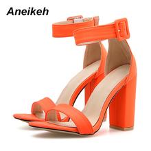 Aneikeh 2019 New Summer Sandals High Heels Buckle Hollow Open toe Women Shoes Sexy Pumps sandalias mujer Size 41 42 Green