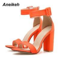 Aneikeh 2019 nouvelles sandales d'été talons hauts boucle creuse bout ouvert femmes chaussures Sexy pompes sandalias mujer taille 41 42 vert
