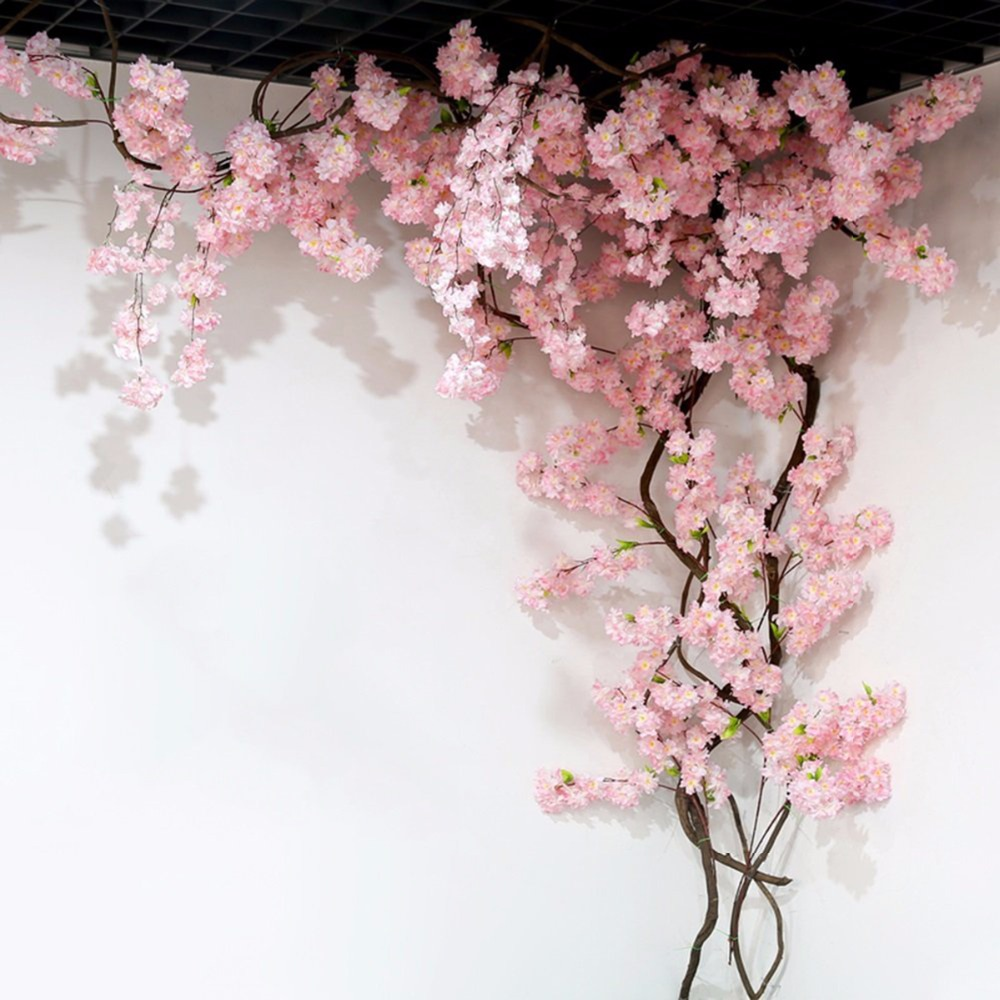 Fengrise 2m Pink Sakura Flower Cherry Rattan Wedding Arch Flower For