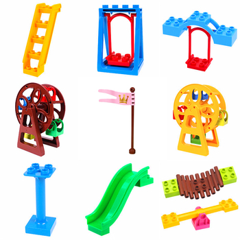 Big Size Building Blocks Swing Dinosaurs Figures Animal Accessories Toys For Children Compatible City Duploingly Bricks Toy Gift