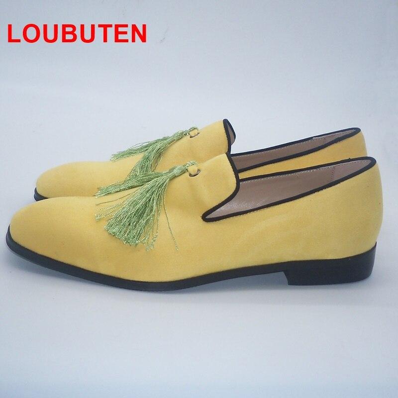 Loubuten 2019 fait à la main jaune hommes chaussures en velours avec des glands mode mariage et fête hommes mocassins Style italien fumer pantoufles - 3
