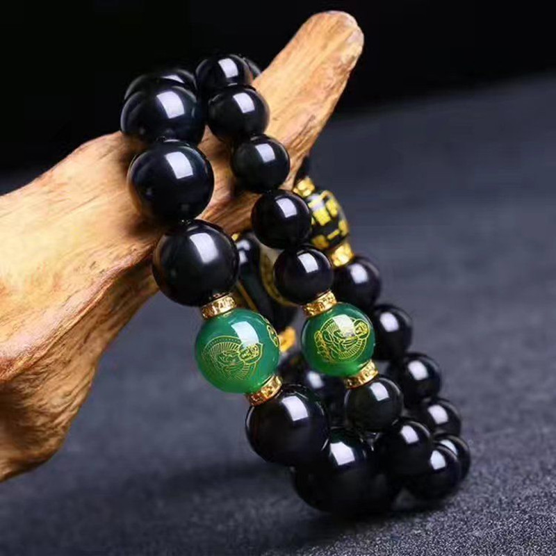 100% Natural Black Obsidian Stone Bracelets Bodhisatt Patron Saint Bracelets Round Beads Bracelets Bangles Women Men's Jewelry Activating Blood Circulation And Strengthening Sinews And Bones