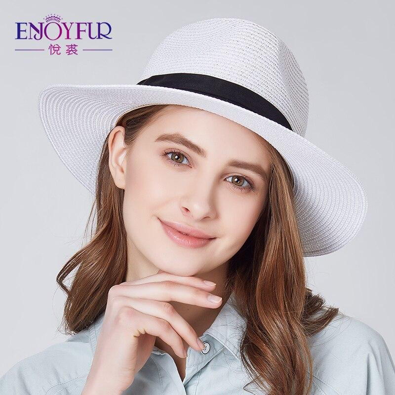 Enjoyfur Frauen Sommer Sonne Hut Unisex Panama Hut 2019 Neue Ankunft Mode Stroh Strand Cap Sonnenhüte Kopfbedeckungen Für Damen