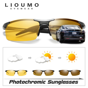Image 2 - HD نظارات للقيادة ماركة اللونية الاستقطاب النظارات الشمسية الرجال الألومنيوم الرياضة حملق الاتجاه Chamelen oculos دي سول masculino UV400