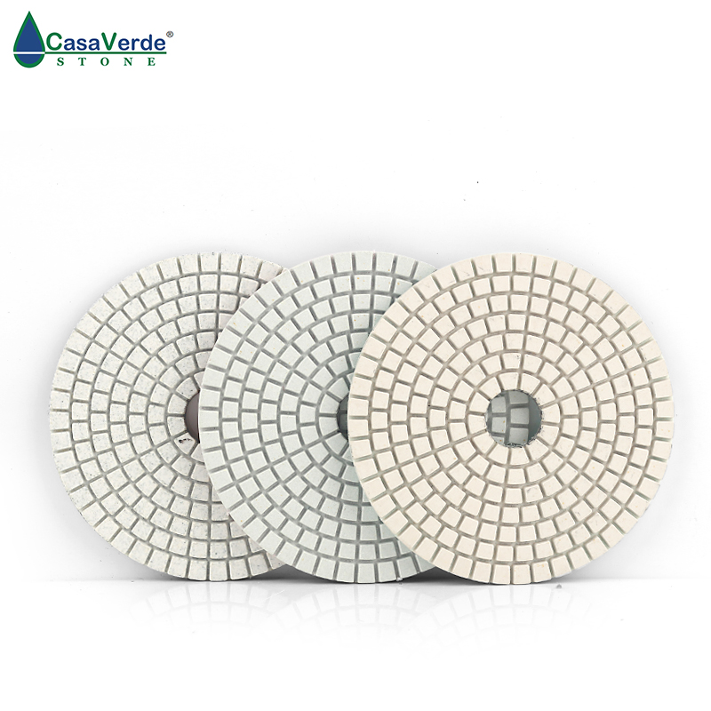 Hot Sale DC-BWS3PP02 100mm Dry And Wet Polishing 4 Inch 3 Step Diamond Polishing Pads For Marble And Granite