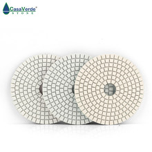 Hot sale DC-BWS3PP02 100mm dry and wet polishing 4 inch 3 step diamond polishing pads for marble and granite(China)