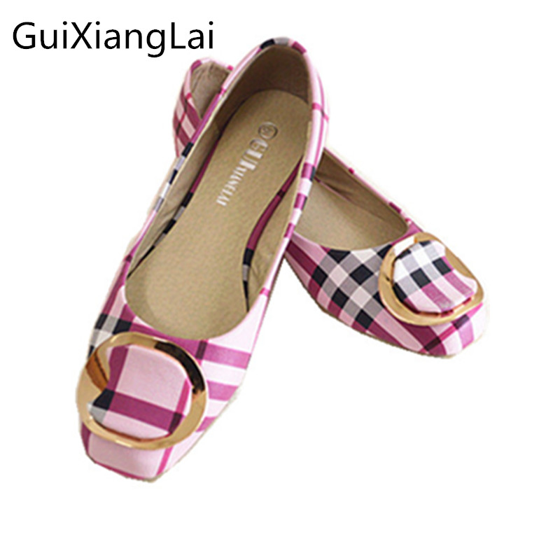 Guixianglai 2018 Korean New Fashion Spring Women Flats Shoes Ladies Bow Square Toe Slip-On Flat Women's Shoes Plus Size 35-42 buckle straps embellished women pu leather flat heel shoes korean fashion new 2017 ladies slip on designer flats round toe