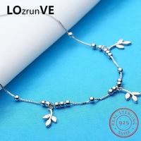 LOZRUNVE Original 2018 Brand S925 Sterling Silver Enkelbandje Fashion Box Chain Beads Clover Charm Anklet Women Wholesale