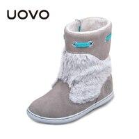 Uovo Brand Kids Suede Boots Grey Color Girls Winter Shoes Chaussure Enfant Fashion Plush Decoration Children