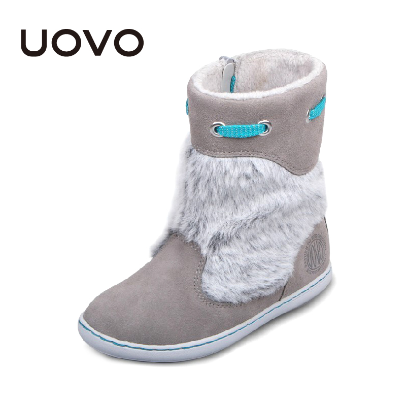 Uovo Brand Kids Suede Boots Grey Color Girls Winter Shoes Chaussure Enfant Fashion Plush Decoration Children