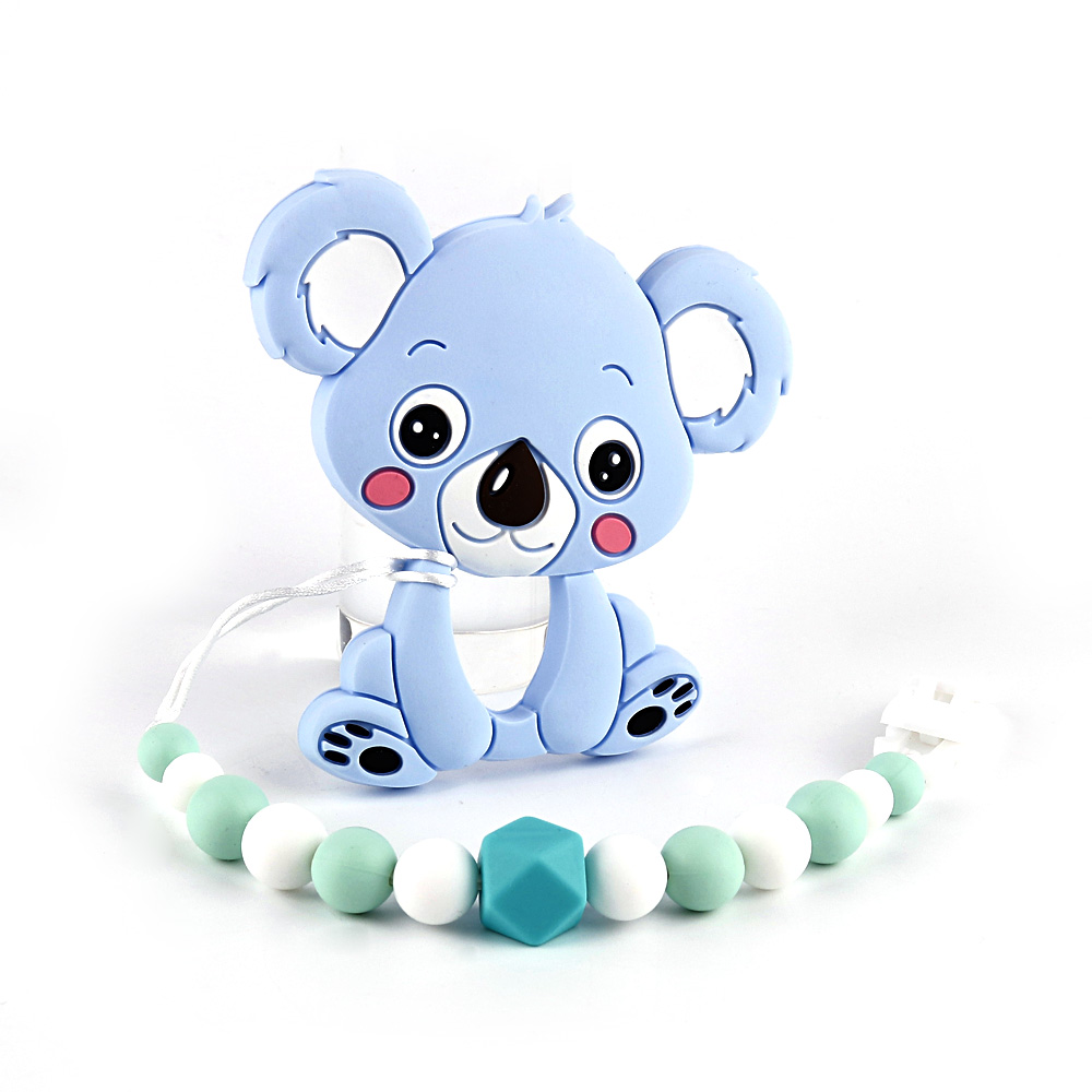 TYRY.HU Silicone Baby Teether Personalized Teething Toy Soft Silicone Beads Baby Carrier Teething Baby Soother Newborn Gift