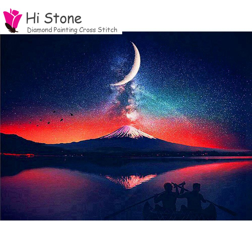 DIY 5d Diamond Painting Full Square Mosaic star moon moutain Diamond Embroidery Home Decor Needlework home decor new scenery
