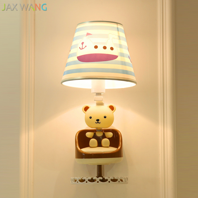 De dibujos animados Animal LED luz de la pared de dormitorio de bebé de niños habitación pasillo lámpara de la decoración de la tela Pequeño Oso lámpara de pared