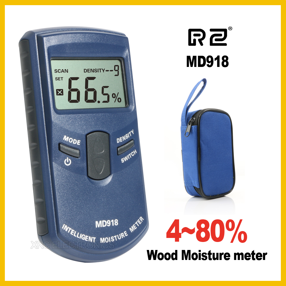 RZ Inductive Wood Timber Moisture Meter Hygrometer Digital Electrical Tester Measuring tool MD918 4~80% Density electromanetic digital inductive moisture meter for measuring wood mud ground range 0 100