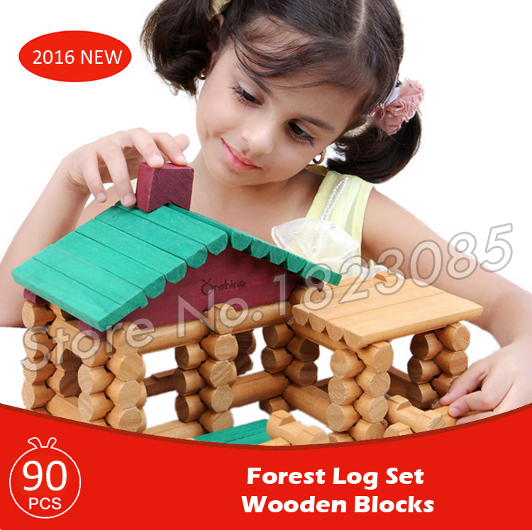 90pcs Forest Lodge Creative Assemble Wooden Construction House Set Model Building Blocks Learning Bricks Baby Toys wooden 3d building model toy gift puzzle hand work assemble game woodcraft construction kit merry christmas castel shop store