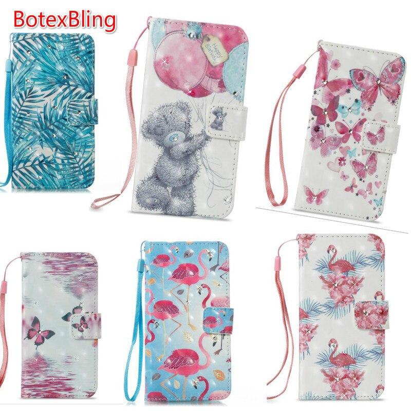 BotexBling 3D DIY rhinestone cute flamingo bear leather case for iphone X 7 7plus 8 8plus 6 6s plus 6plus 5s se s8 s8plus note8