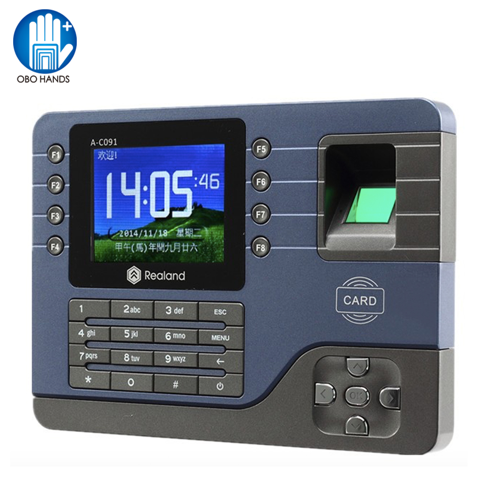 3 2inch TCP IP USB Biometric Fingerprint Reader Time Clock Recorder Finger Attendance Employee Machine Realand