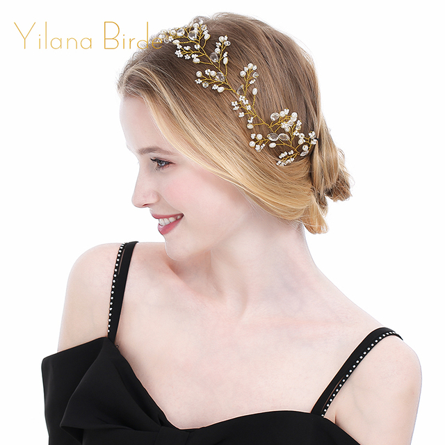 28X6cm Gold Color Simulated-Pearl Crystal Copper Headband Wedding Hair Accessories Bride Tiaras Diamante Plant Hair Jewelry