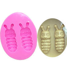 M0613 Silkworm baby mini Insect Silicone Fondant mold 3D cake decorating tools Jelly Candy Chocolate Decoration Baking Tool