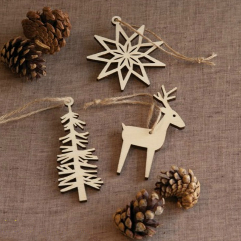 3 pcsset wooden christmas tree hanging decoration santa claus xmas ornaments home decor moose pendant new year gift - Christmas Moose Home Decor