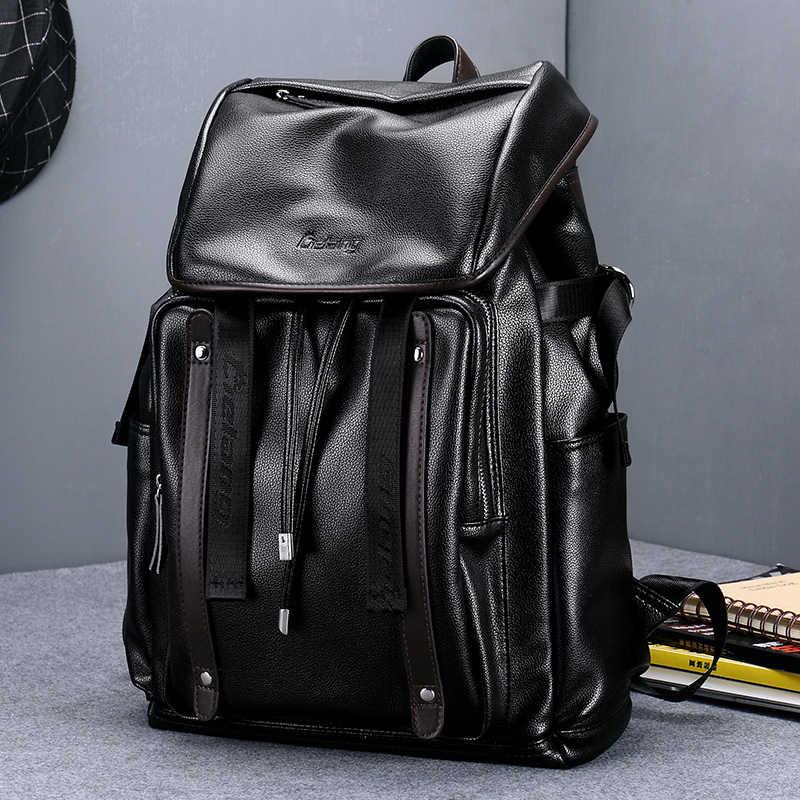 LIELANG على ظهره الرجال حقيبة ظهر مصنوعة من الجلد مكافحة سرقة أكياس كلية مراهق حقيبة مدرسية ل 15.6 بوصة محمول على ظهره